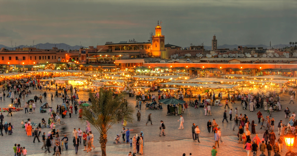 UNESCO square Djemaa El-fna in Marrakesh, Morocco, at dusk