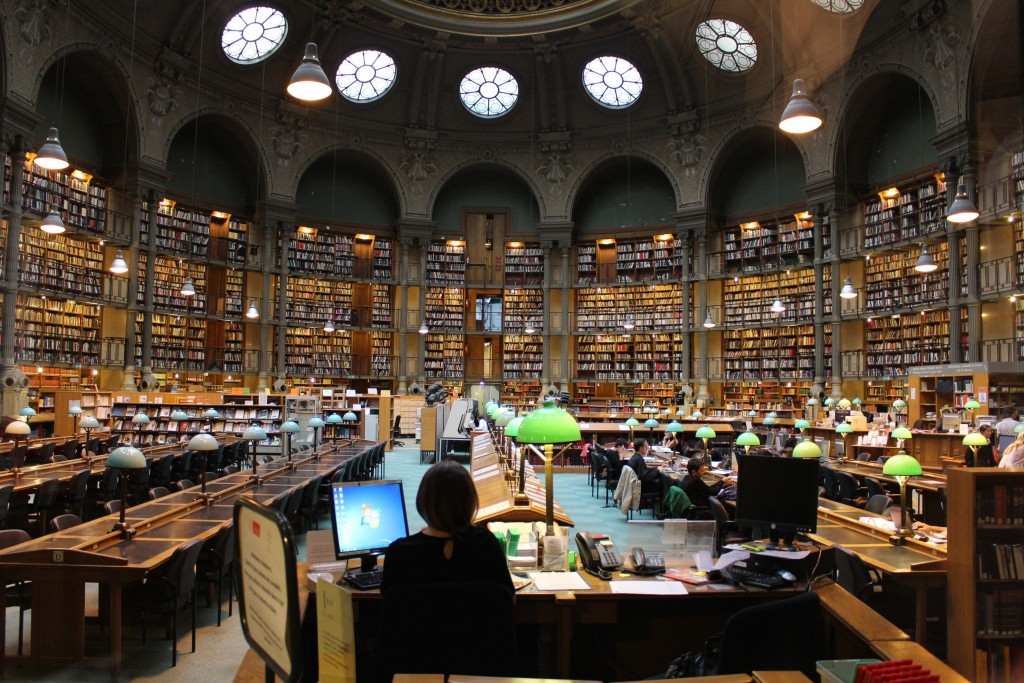 a room in a large library