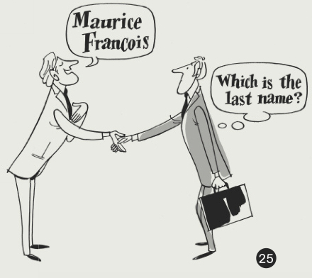 A Cartoon Showing Two Men Shaking Hands The Man On Left Says Maurice French