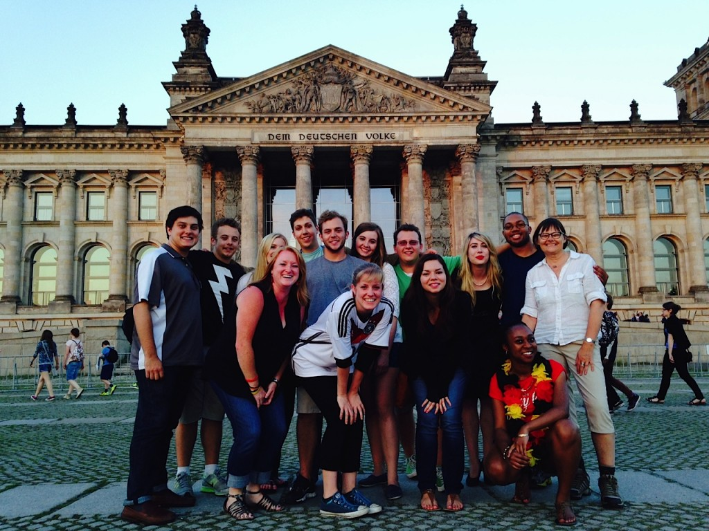 a group of UA students standing in front of a building in Germany