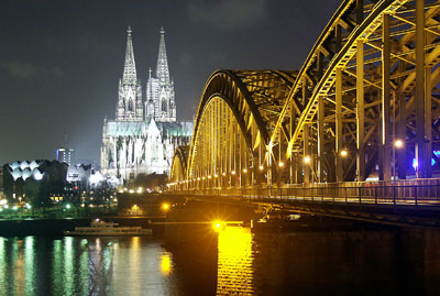 a bridge and cathedral in the German city of Koln (Cologne)