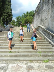 four UA students climbing steps in Florence, Italy