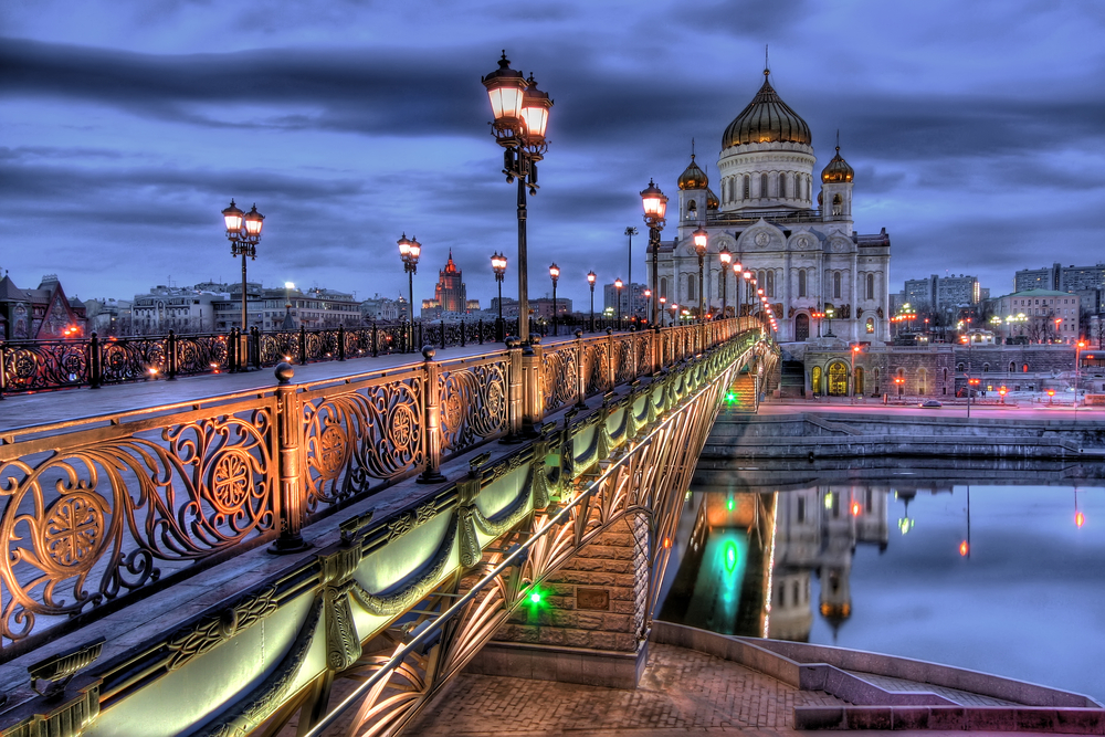 a bridge and cathedral in Moscow, Russia