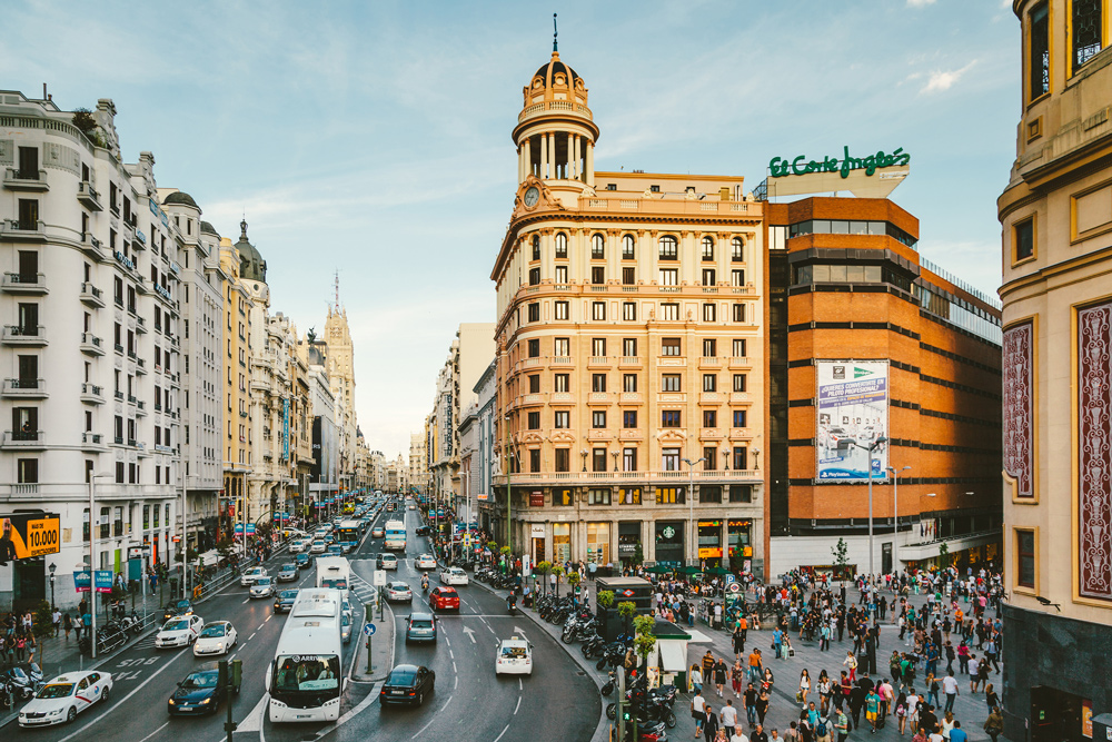 view of Callao Square and Gran Via in Madrid, Spain
