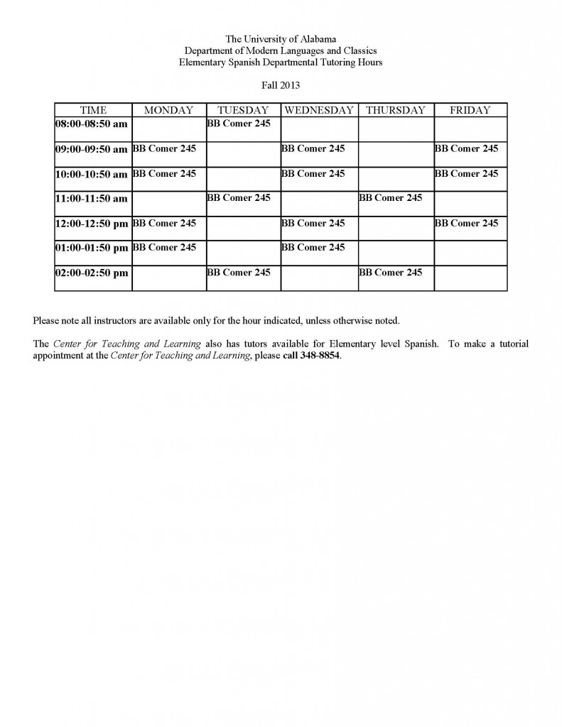 Tutoring Schedule - Fall 2013