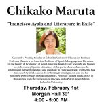 "Chikako Maruta ""Francisco Ayala and Literature in Exile"" flyer"