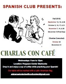 Charlas Con Cafe flyer