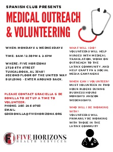 Medical Outreach & Volunteering flyer