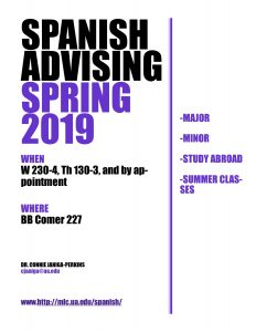 Spanish Advising Spring 2019 flyer