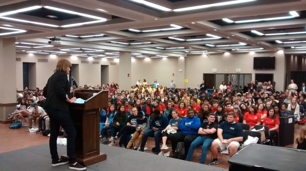 students attend a talk