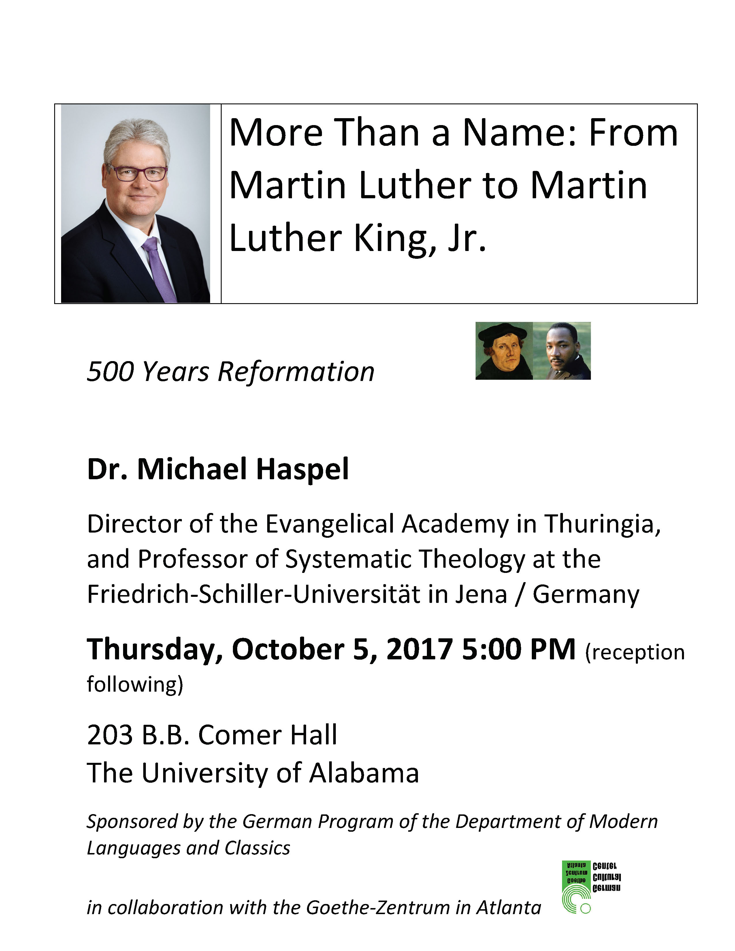More than a Name: From Martin Luther to Martin Luther King, Jr.: 500 Years Reformation flyer