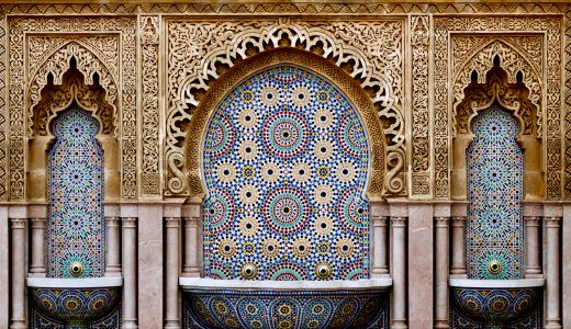 tiled fountains in Morocco