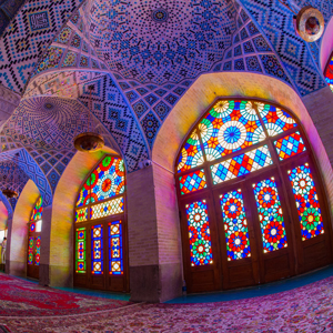 stained glass windows in a mosque