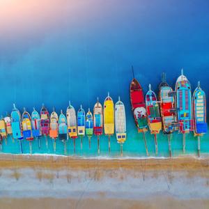 colorful boats off the Turkish coast